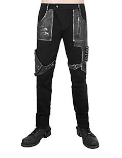 Herrer Punk & gotisk Mikroelastisk Tynd Chinos Joggingbukser Bukser,Lavtaljede Patchwork Farveblok