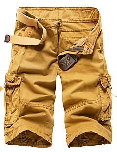 Herre Vintage Enkel Gatemote Mikroelastisk Shorts Bukser,Rett Mellomhøyt liv Ensfarget