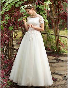 A-라인 웨딩 드레스 - 쉬크&모던 어깨 노출 스타일 바닥 길이 보트넥 튤 와 아플리케 비즈 꽃장식