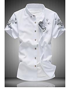 남성 플로럴 버튼 다운 카라 짧은 소매 셔츠,심플 캐쥬얼/데일리 면