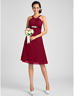 LAN TING BRIDE Knee-length Jewel Straps Bridesmaid Dress - Open Back Sleeveless Chiffon