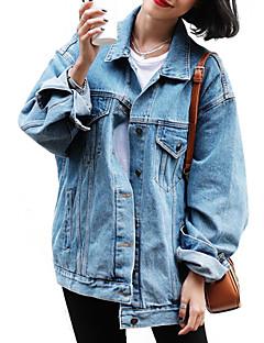 Bomull Kort Langermet,Skjortekrage Denimjakker Ensfarget Vår Sexy Søt Ut på byen Dame