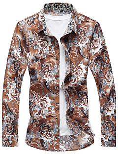 Для мужчин На каждый день Пляж Лето Рубашка Рубашечный воротник,Простое Активный Цветочный принт Длинный рукав,Хлопок Искусственный шёлк,