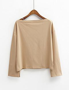 レディース カジュアル/普段着 春 夏 Tシャツ,シンプル ラウンドネック ソリッド コットン 長袖 薄手