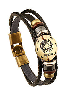 Pánské Dámské Kožené náramky přátelství Retro Kožené Round Shape Šperky Pro