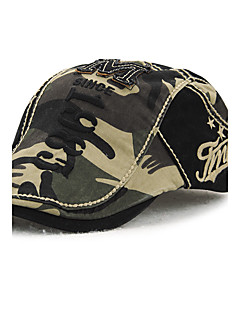 Men's Cotton Beret Hat Peaked Cap Vintage Casual Camouflage Print Summer All Seasons Black/Beige/Brown