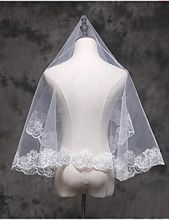 Bryllupsslør En-lags Albue Slør Fingerspids Slør Blonderet Kant Tyl Blonde