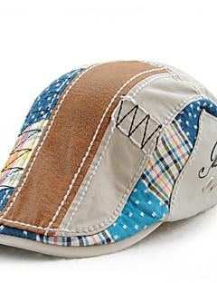 Men's Cotton Beret Hat Peaked Cap Casual Patchwork Summer All Seasons Grey
