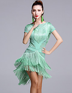 Danse latine Robes Femme Spectacle Dentelle Viscose Dentelle 2 Pièces Manche courte Taille moyenne Robe Short