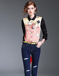 Dames Eenvoudig Schattig Street chic Lente Herfst Overhemd,Uitgaan Nette schoenen Werk Print Overhemdkraag Lange mouw Polyester Medium