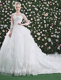 Ball Gown V-neck Cathedral Train Lace Tulle Wedding Dress with Beading Sequin Appliques by QZ