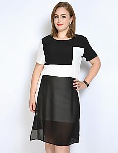 Feminino Reto Camiseta Preto e Branco Vestido,Casual Férias Tamanhos Grandes Sensual Simples Fofo Estampa Colorida Retalhos Decote Redondo