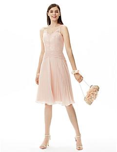 LAN TING BRIDE באורך  הברך רצועות ספגטי שמלה לשושבינה - גב פתוח ללא שרוולים שיפון תחרה