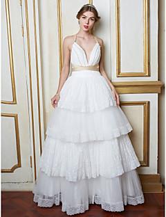 Linha A Vestido de Noiva Longo Decote V Renda / Tule com Renda / Pérola