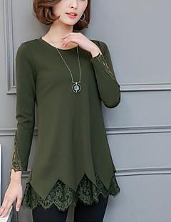 Langærmet Rund hals Damer Ensfarvet Simpel Afslappet/Hverdag T-shirt,Polyester