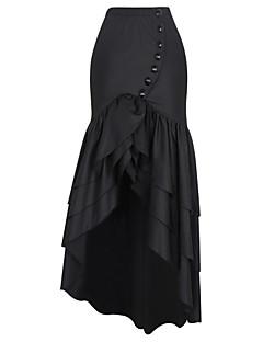 Damer Sexet Vintage I-byen-tøj Afslappet/Hverdag Ferie Asymetrisk Nederdele Højtaljede Havfrue Patchwork,Ensfarvet Alle Sæsoner