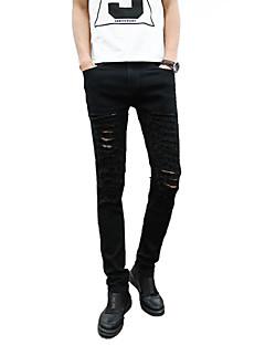 Herren Anzüge-Einfarbig Freizeit Baumwolle Schwarz