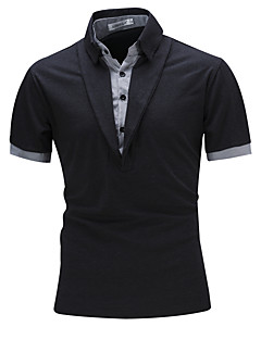 Men's Casual/Daily Sports Simple Active Summer Polo,Solid Striped Standing Collar Short Sleeve Cotton Rayon Thin