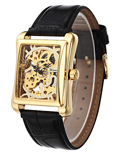 WINNER 男性 リストウォッチ 機械式時計 透かし加工 手巻き式 PU バンド ラグジュアリー ブラック