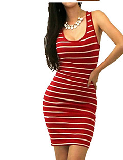 Women's Party Sexy Bodycon Dress,Striped Deep U Above Knee Sleeveless Cotton Summer Mid Rise Micro-elastic Thin