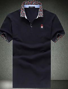 Pánské Jednobarevné Běžné/Denní Jednoduché Polo Bavlna Košilový límec Krátký rukáv