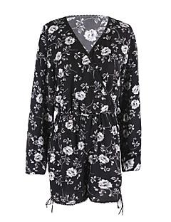 Damer Gade I-byen-tøj Ferie Sparkedragter Højtaljede LøstsiddendeBlomstret Forår Sommer