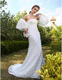Linea-A Vestito da sposa - Moderno Scollatura posteriore Strascico di corte Senza spalline Di pizzo con Fiore decorativo