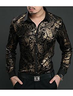 Masculino Camisa Social Casual SimplesEstampado Seda Colarinho de Camisa Manga Longa Fina