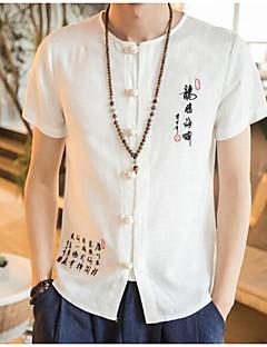 Для мужчин На выход Рубашка Круглый вырез,Простое Однотонный С короткими рукавами,Полиэстер