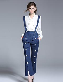 Femme Ample Salopette Pantalon,Sortie Mignon Rayé Taille Haute fermeture Éclair Coton non élastique Sangle Eté