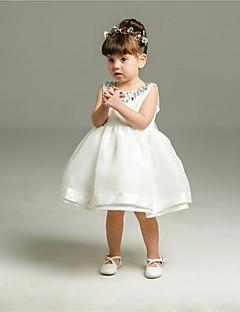 שמלת נשף קצר / מיני פרח ילדה שמלה - אורגנזה שרוולים תכשיט צוואר עם קריסטל ידי ydn