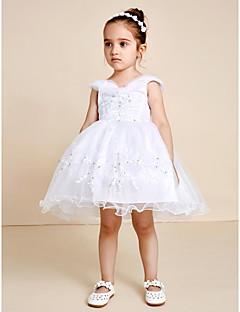 Princess Knee Length Flower Girl Dress - Satin Tulle V-neck with Beading Embroidery