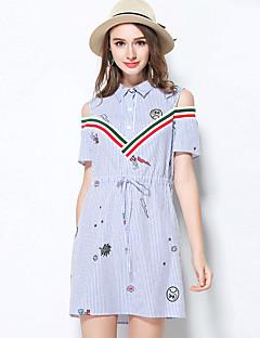 Damen Hülle Kleid Solide Gestreift V-Ausschnitt Übers Knie Kurzarm Acryl Sommer Tiefe Hüfthöhe Unelastisch Mittel