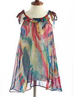 שמלה כותנה ללא שרוולים דפוס הילדה של