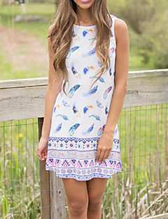 Women's Going out Casual/Daily Club Sexy Simple Street chic Sundress Loose Slim Shift DressPrint Sexy Round Neck Mini Sleeveless Spring SummerMid