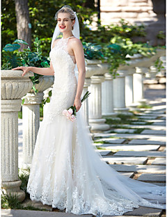 2017 Sheath / Column Wedding Dress - Chic & Modern Floral Lace Beautiful Back Sweep / Brush Train Jewel Lace Tulle withAppliques Beading