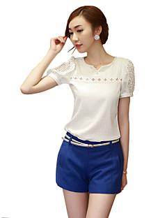 여성의 솔리드 V 넥 짧은 소매 블라우스,심플 캐쥬얼/데일리 화이트 폴리에스테르 사계절 얇음
