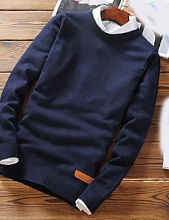 Herrer Afslappet/Hverdag Normal Pullover Ensfarvet,Rund hals Langærmet Polyester Efterår Medium Mikroelastisk