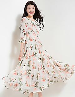 Damen Chiffon Swing Kleid-Ausgehen Lässig/Alltäglich Retro Boho Blumen V-Ausschnitt Maxi 3/4 Ärmel Polyester Chiffon Frühling SommerHohe