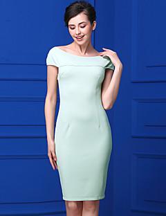 Kadın Günlük/Sade Sade Kılıf Elbise Solid,Kolsuz Kayık Yaka Diz-boyu Polyester Yaz Normal Bel Mikro-Esnek Orta