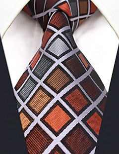 CS10 New For Mens Men's Neckties Brown Multicolor Checked 100% Silk Casual Classic Dress For Men