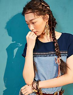 Kortærmet Rund hals Damer Ensfarvet Trykt mønster Farveblok Simpel Afslappet/Hverdag T-shirt,Bomuld