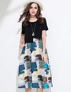 Damen Swing Kleid-Lässig/Alltäglich Geometrisch Rundhalsausschnitt Midi Kurzarm Acryl Sommer Tiefe Hüfthöhe Unelastisch Mittel