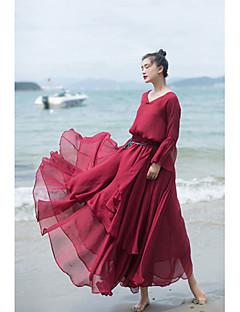 Damen Urlaub Maxi Röcke Schaukel einfarbig Sommer