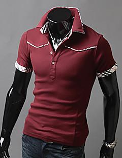 Bomull Medium Kortermet,Skjortekrage Polo Ensfarget Fargeblokk Mote Sommer Enkel Fritid/hverdag Plusstørrelser Herre