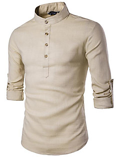 Men's Casual/Daily Simple All Seasons Shirt,Solid Stand Long Sleeves Linen Medium
