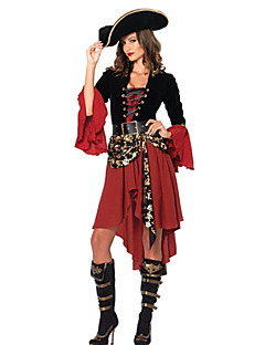 Cosplay Kostüme Party Kostüme Seeräuber Fest/Feiertage Halloween Kostüme Schwarz/Rrot Patchwork Kleid Gürtel HutHalloween Karneval