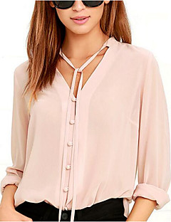 Women's Going out Casual/Daily Simple Cute Spring Summer Blouse,Solid V Neck Long Sleeve Polyester Medium