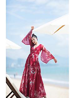 Kadın Günlük/Sade Sade Çin Stili Salaş Elbise Solid Geometrik,Uzun Kollu V Yaka Maksi Akrilik Yaz Normal Bel Esnemez Orta
