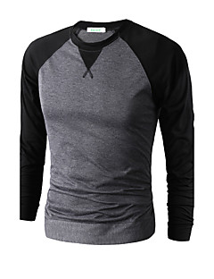 Men's Sports Going out Casual/Daily Simple Punk & Gothic Spring Fall T-shirt,Solid Color Block Round Neck Long Sleeve Cotton ModalThin